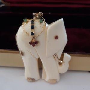 """Jewelry - 14k 'Ivory Look"""" Elephant Pendant"""